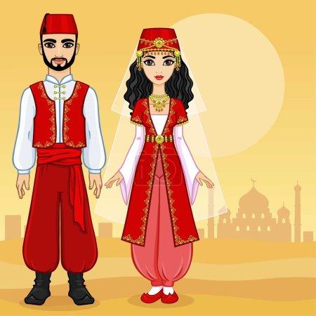 Animation Arab family.