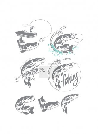 pike fish logos set
