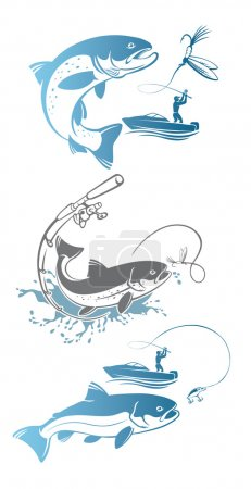 Set of fly fishing trout. Vector illustration...