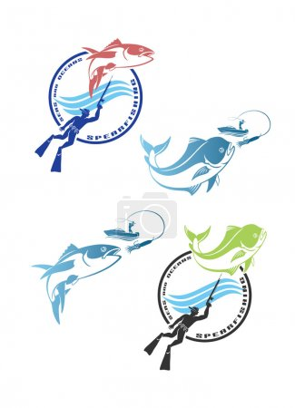 spearfishing logos with fishes