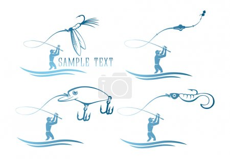 Set of icons on topic of fishing