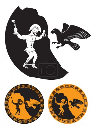 Silhouette of Prometheus and the eagle. Vector ill...