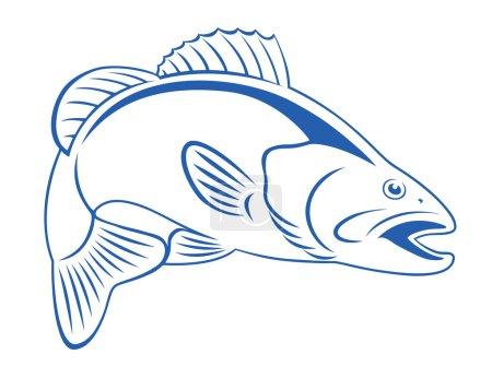retro style drawing Fish bass