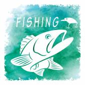 Retro style drawing fishing logo vector illustration