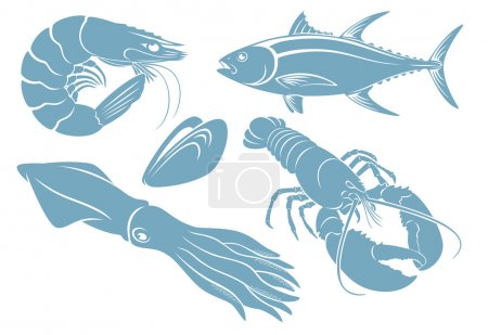 blue seafood silhouettes