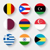 Flags of the world round buttons