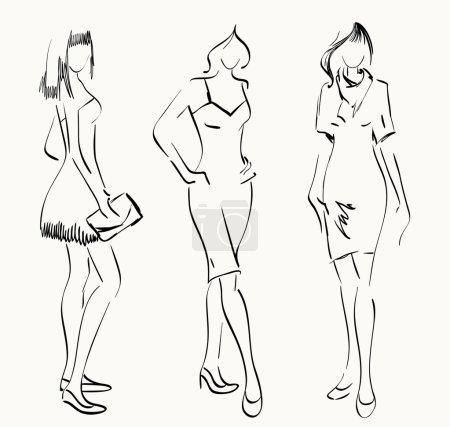 Illustration pour Esquisse des mannequins. Les femmes montrent des vêtements à la mode - image libre de droit