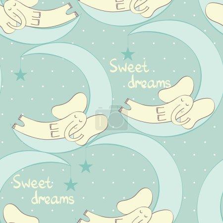 Illustration for Cartoon Sleeping elephant. Cute Hand Drawn  seamless pattern - Royalty Free Image