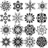 Set of round pattern tattoo 16 Mandalas in black
