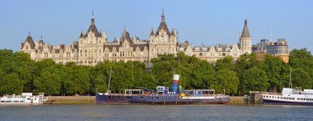 Victoria Embankment Early Morning Panorama with Whitehall & Boat