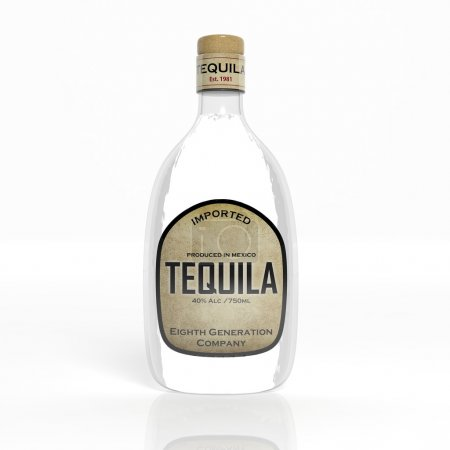 3D tequila transparent glass bottle isolated on white