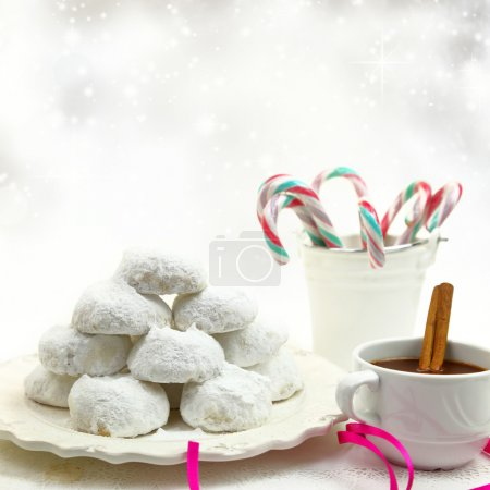 Photo for Christmas cookies with candies and coffee on white bokeh background - Royalty Free Image