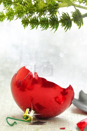 Broken red Christmas ornament under tree branch