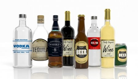 3D collection of alcoholic beverages bottles isolated on white background