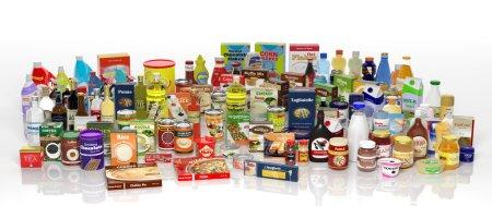 Photo pour Divers produits d'épicerie 3d isolés sur blanc - image libre de droit