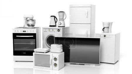 Photo pour Groupe d'appareils électroménagers isolés sur fond blanc - image libre de droit