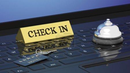 Photo pour Clé de chambre d'hôtels, enregistrement et cloche sur le clavier des ordinateurs portables - image libre de droit