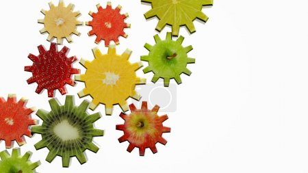 Photo for Gears made of fruit slices on white background - Royalty Free Image