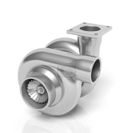 Car turbocharger, isolated on white background