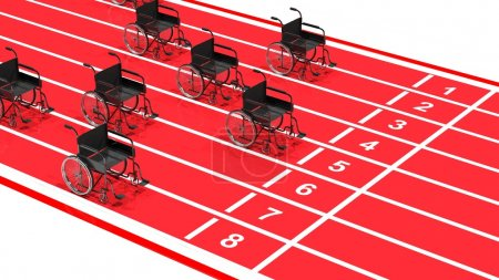 Wheelchairs on red running track isolated on white