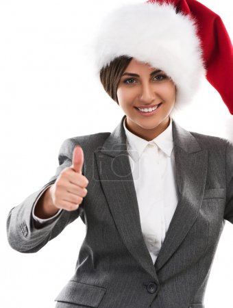 Christmas woman showing thumbs up