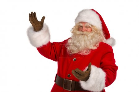 Photo for Happy Christmas Santa Claus with a welcome gesture. Isolated on white background. - Royalty Free Image