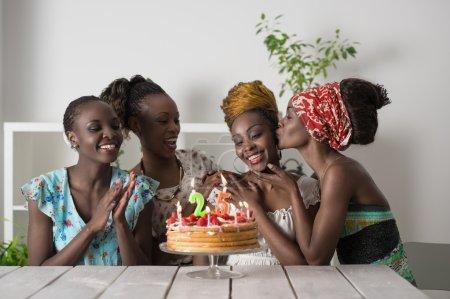 Woman celebrating birthday