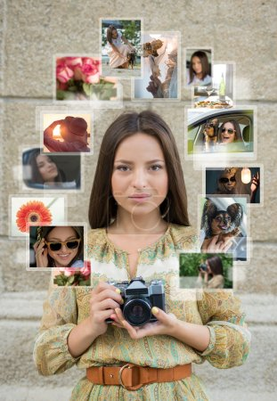 Girl with camera and many images