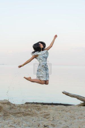 Woman having fun on beach