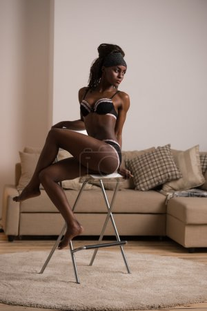 african woman in lingerie