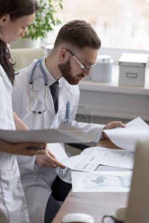 Doctors discussing test results