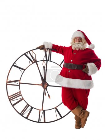 Photo for Santa Claus with big watches. Full Length Portrait Isolated on White Background - Royalty Free Image