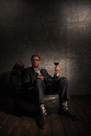 Business man Drinking Wine