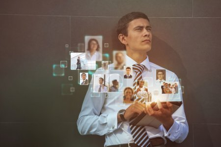 Photo for Social Media Concept. businessman using modern technology for communication - Royalty Free Image
