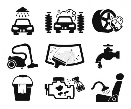 Illustration for Car wash and car service icons collection - Royalty Free Image