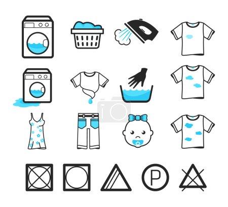 Illustration pour Icônes de blanchisserie ensemble. Entretien des vêtements et signes de lavage - image libre de droit