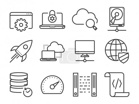 Illustration for Data and Networking icons set. Line series - Royalty Free Image