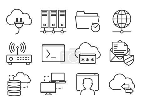 Illustration pour Ensemble d'icônes réseau et télécommunications - image libre de droit