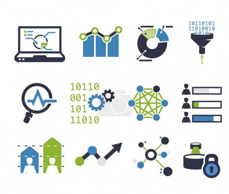 Illustration for Data analytic icon set. Flat design - Royalty Free Image