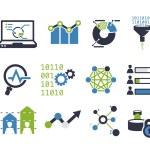 Data analytic icon set. Flat design...
