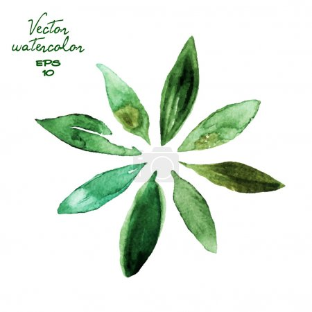 Illustration for Set of green watercolor leaves - Royalty Free Image