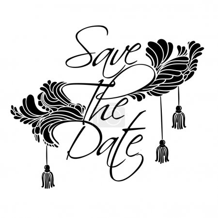 Illustration for Sign Save The Date. Lettering with feathers and tassels luxury style. - Royalty Free Image