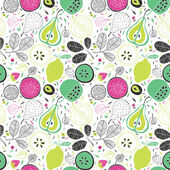 Vector pattern with fruits flowers and leaves