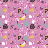 Vector pattern with birds flowers and fruits