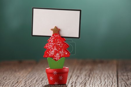 blank card on christmas tree