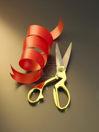 Red ribbon ang scissors