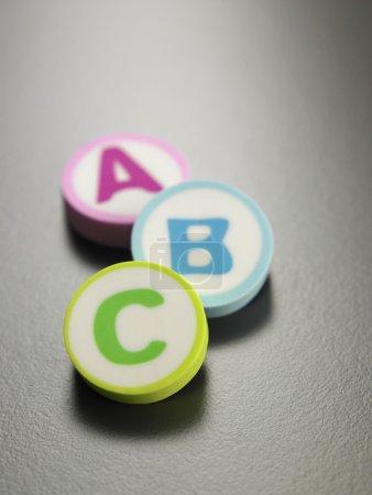 A b c printed on eraser