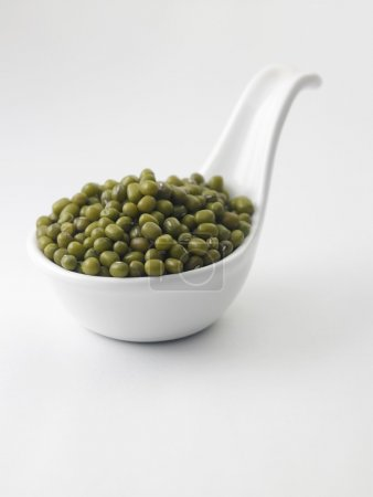 mung beans in white saucer