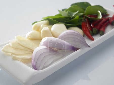 Photo for Fresh ingredient chilli,onion,garlic and other prepared for cook - Royalty Free Image