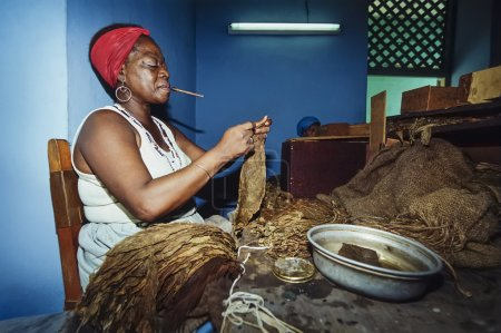 Woman working in cigars factory